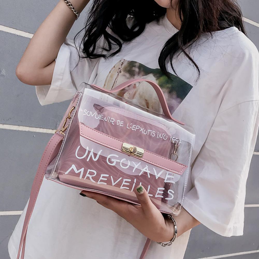 Women Clear Transparent Sling Shoulder Bag PVC Fashion Cute Tote Candy Color Jelly Bags Purse Handbags Messenger Crossbody Bag