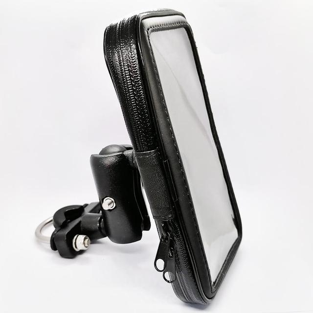 Motorcycle Cell Phone Mount Holder with Waterproof Zipper Case Handlebar Rail Mount Holder Case for iPhone 7/X, Galaxy S9 Plus