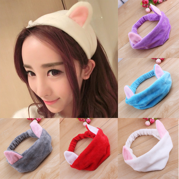 Women Ladies Cat Ears Headband Cute Yoga Makeup Elastic Hair Bands Turban Girls Velvet Knotted Headband Wash Face Hairlace image