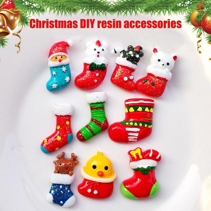 20 PCS Christmas Decoration Socks Santa Claus Xmas Tree Jingle Bell Resin Ornament DIY BM88