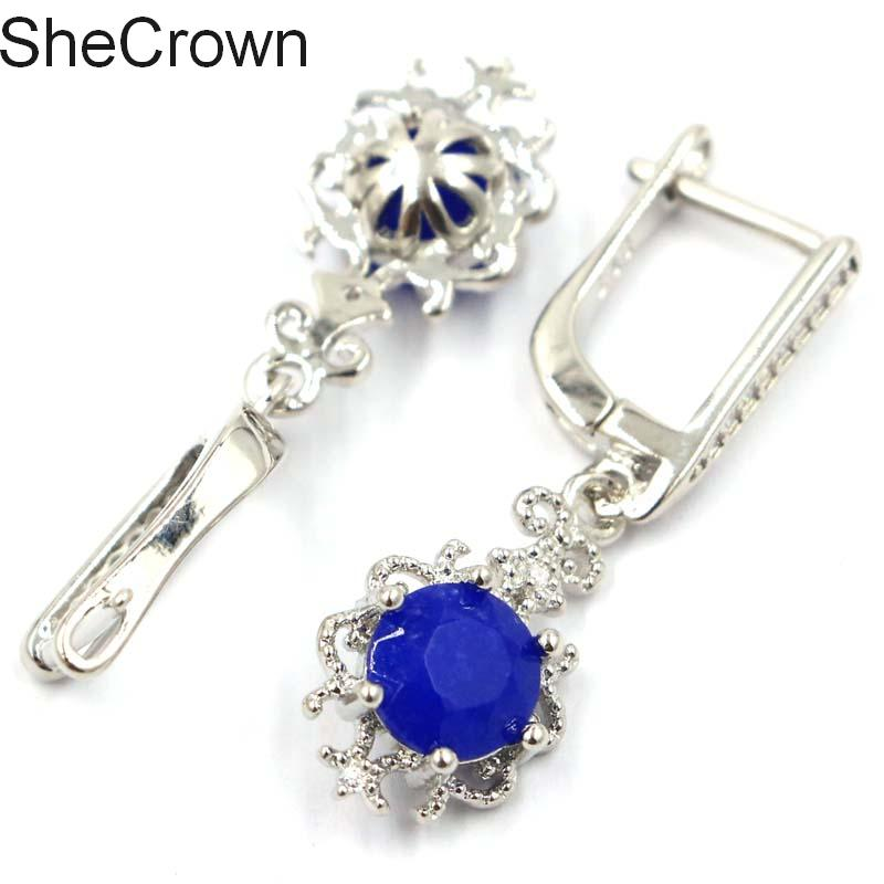Classic Real Blue Sapphire White CZ Present Silver Earrings 33x10mm