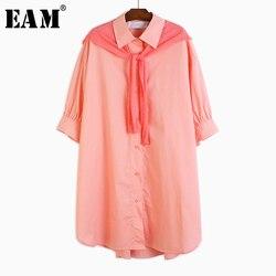 Женское платье-рубашка EAM, синее трикотажное платье большого размера с отворотом и рукавом три четверти, весенне-летняя мода 2020 1U373