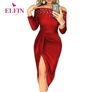 Red Banquet Vestidos Women Slim Sexy Slash Neck Beading Long Sleeve High Split Dress Ladies Elegant Party Dress SJ5817R