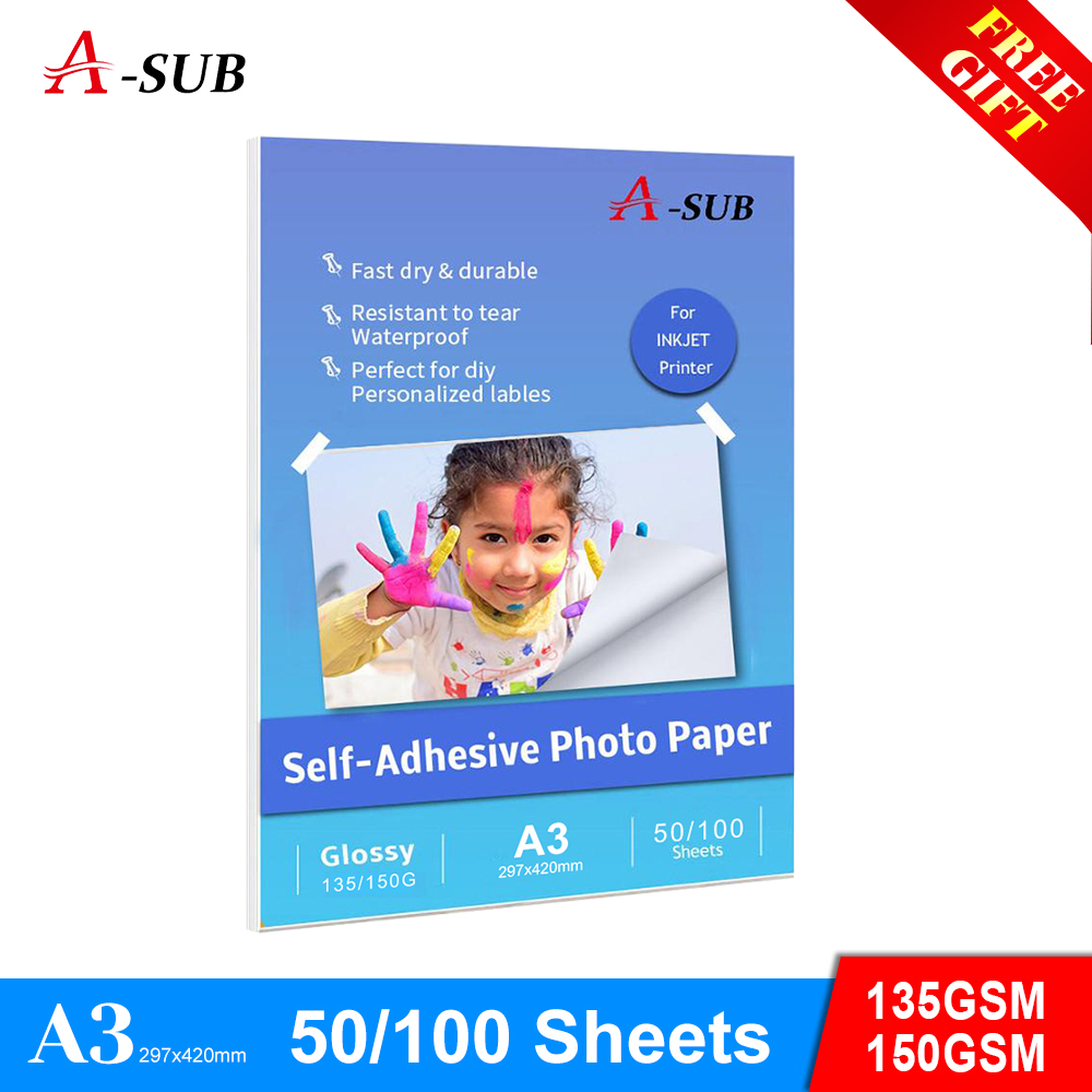 A3 135g/150g 50/100sheets Glossy Self Adhesive photo paper Inkjet Printing with back glue sticker photo paper