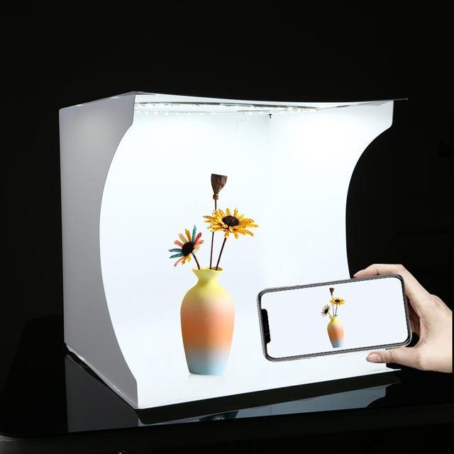 PULUZ 30cm Folding Portable Ring Light Photo Lighting Studio+Ring LED Panel Truntable,Tabletop Shooting Tent Box Kit 6 Backdrops