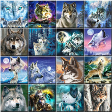 Animal lobo pintura por números em tela pintura acrílica para adulto diy kits de desenho com quadro de colorir por números decoração