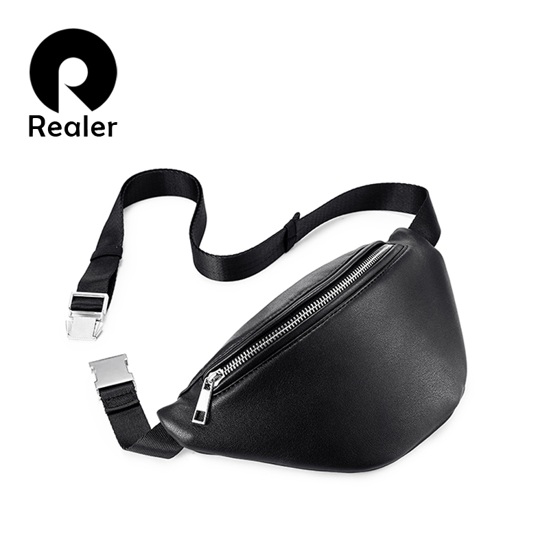 REALER Fanny Pack Fashion Waist Bag Women Travel Belt Bag Chest Female Shoulder Crossbody Bag Ladies Waterproof PU Leather