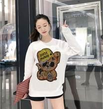 Melhor qualidade moletom feminino strass manga comprida hoodie outono inverno camisolas design do navio da gota