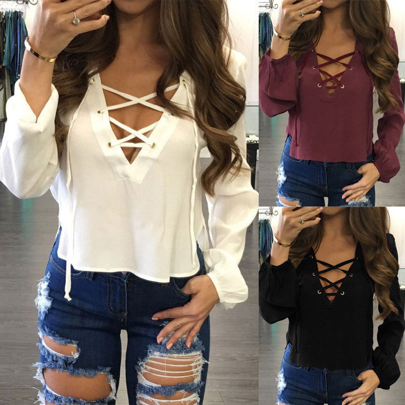Fashion Women Ladies Long Sleeve Loose Blouse V-neck Sweatshirt Tops Pullovers Hollow Out Lace-up Fall Style Sweatshirt Outwear