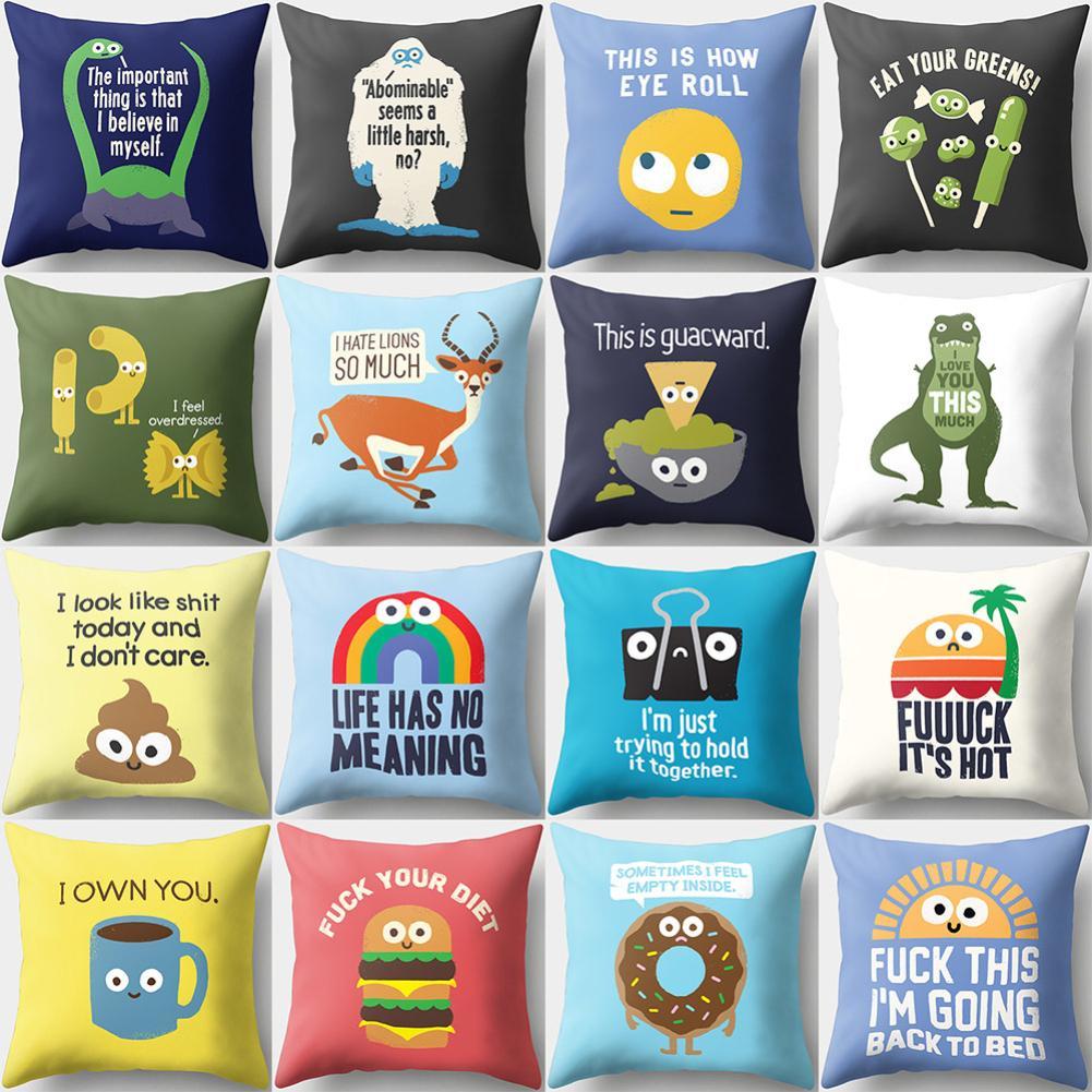 18inch Funny Cartoon Animal Pillow Case Cushion Cover Car Comfortable Hidden Zip Decorative Pillowcase Seat Room Sofa Decor
