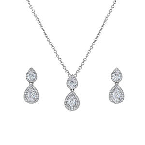 WEIMANJINGDIAN New Arrival Halo Pear Cut Cubic Zirconia CZ Crystal Necklace and Earring Bridal Wedding Bridesmaid Jewelry Set
