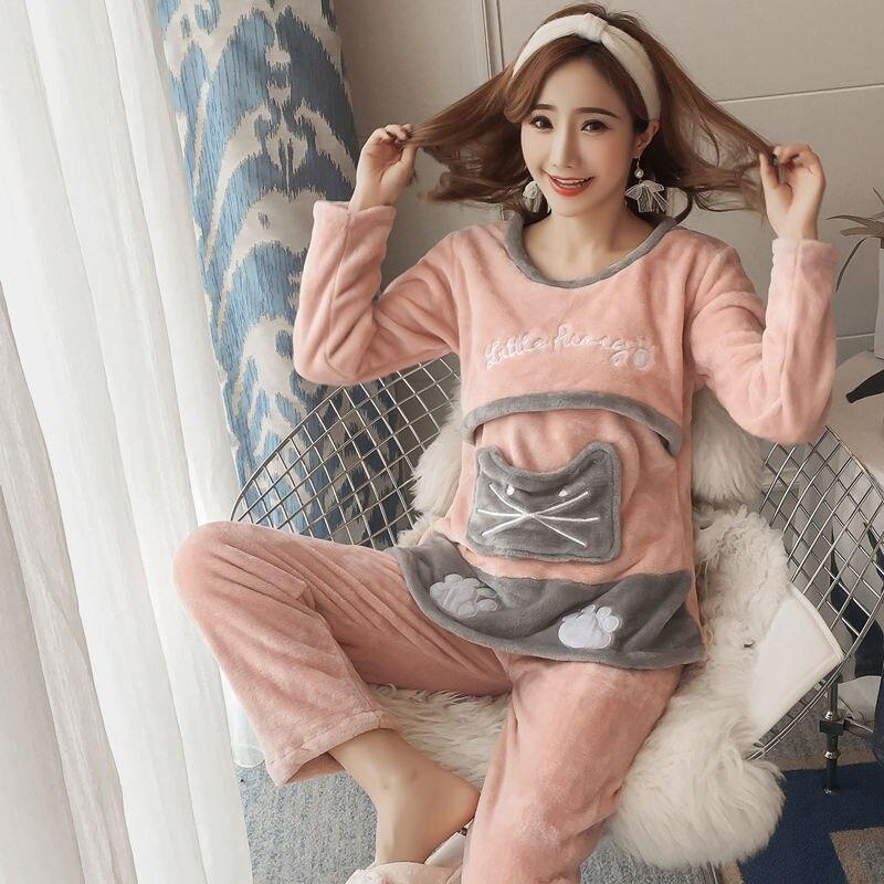 Dollplus 2019 Autumn Winter Nursing Pajamas Maternity Robe Set For Pregnant Women Maternity Pajamas Sleepwear 2pcs Sets