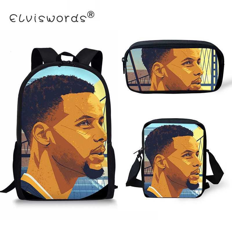 ELVISWORDS Basketball Prints School Bags For Boys 3PC Set Children Orthopedic Backpacks Boy Book bag Satchel Mochila Escolar in School Bags from Luggage Bags