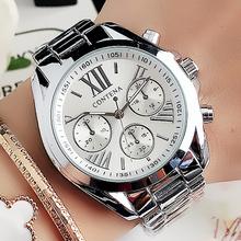 Zegarki damskie srebrne zegarki damskie luksusowa tarcza projektanci marki genewa zegarki kwarcowe damskie 2020 zegarki na rękę Relogio Feminino tanie tanio contena QUARTZ Składane zapięcie z bezpieczeństwem STAINLESS STEEL 3Bar Moda casual 18mm ROUND 10mm Odporne na wodę