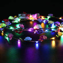 19cm artificial flowers wreath headband LED hair band wedding decor girl birthday gift photo booth props glow hair accessories artificial bridal headband fake flowers wreath festive party supplies photo props girls women wedding headband headwear