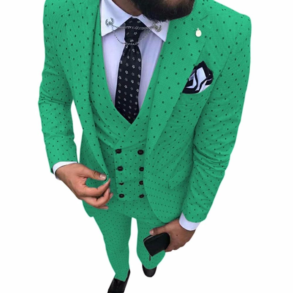 Green Dot Print Men Suits 3 Pieces 2019 New Design Euroean Style Casual Business Travel Outwear Wedding Party Suits Men Costume