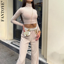 Fantoye Casual Ribbed 2 Piece Set Women Matching Sets Turtleneck Long Sleeve Crop Top Wide Leg Pant Outfits Solid Fitness Suit