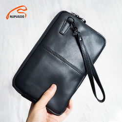 Genuine Leather Casual Men clutch Bags Phone Wallet Coin Purses Credit Card Holder Business Small Bag With 7.9 inch iPad NUPUGOO