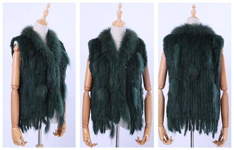 H60864833cb1b4222ba6a11e08d6454727 Brand New Women's Lady Genuine Real Knitted Rabbit Fur Vests tassels Raccoon Fur Trimming Collar Waistcoat Fur Sleeveless Gilet