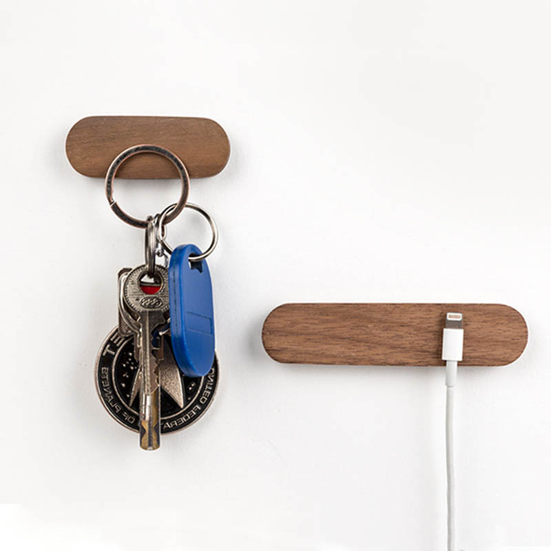 1Pcs Key Storage Organizer Wooden Hooks Portable Wall Mounted Key Ring Hanger Key Rack Strong Magnetic Key Holder