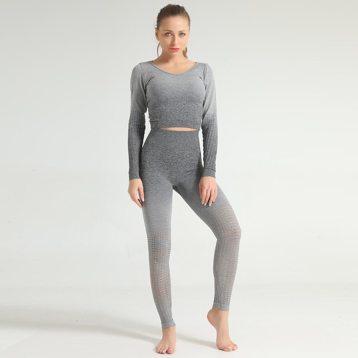 Ombre sem costura conjuntos de yoga feminino