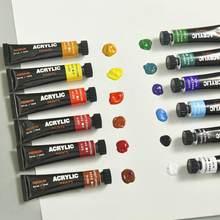Ensemble de peinture acrylique imperméable, Tube de 12ml, 24 couleurs, peinture artistique adaptée à la peinture sur tissu peinte à la main pour étudiants, V7F8