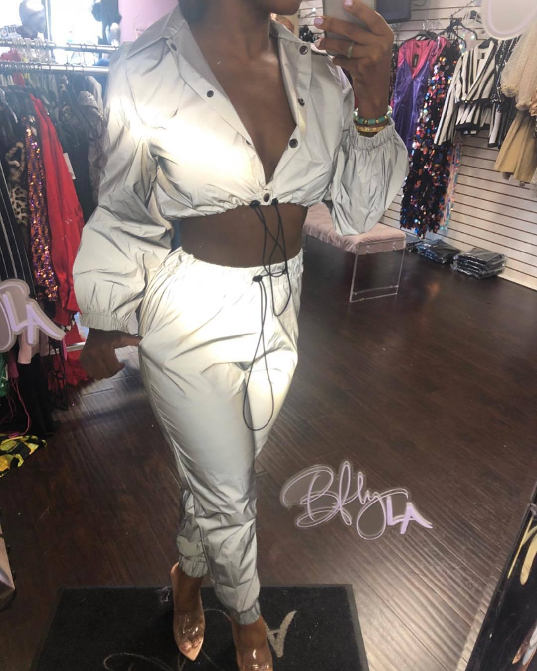 Shiny Reflective Women's Two Piece Tracksuit Co-ord Set