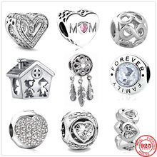 Новый 925 стерлингового серебра Любовь Семья навсегда «Ловец снов», бусы, очаровательные, подходят к оригиналу Pandora, очаровательный Браслеты ...