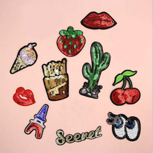 Cherry Paillette Sequins Patches Cap Shoe Iron On Embroidered Appliques DIY Apparel Accessories Patch Clothing Fabric Badge BU37