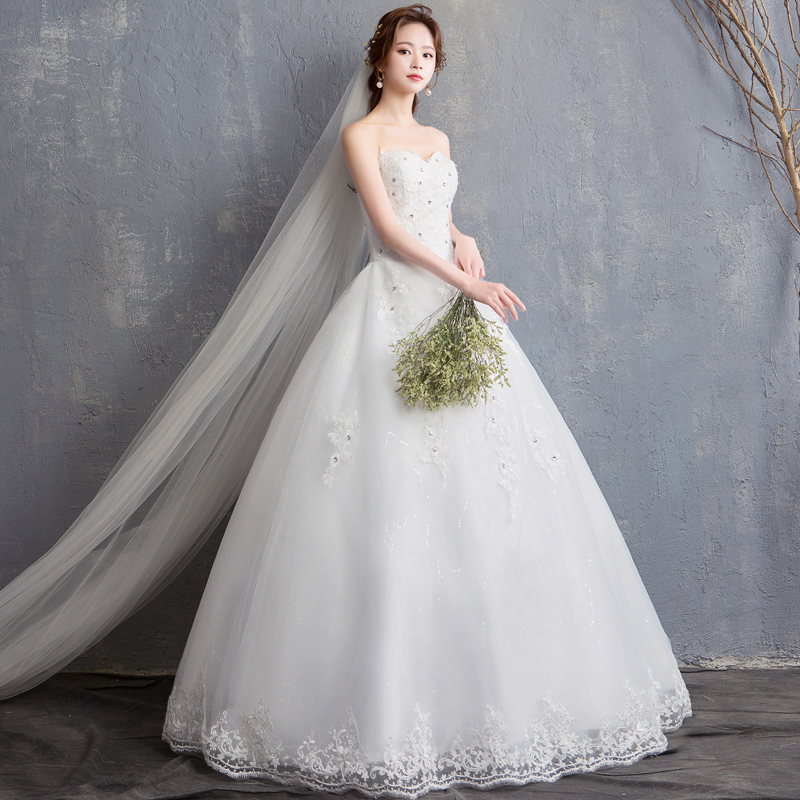 Wedding Dress Lace Up New Bride Strapless Wedding Dress Princess Simple Boat Neck Dresses Ball Gowns