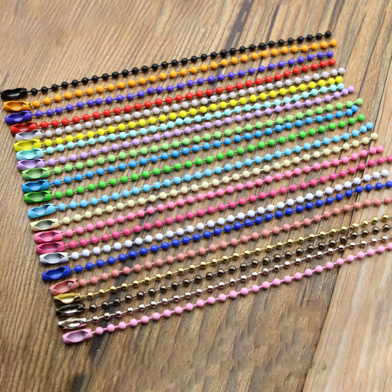 50pcs/lot 2.4mm Ball Bead Chains Fits KeyRing/Key Chain/Dolls/Label Hand Tag Connector DIY Jewelry 12cm/4.72inch Z579