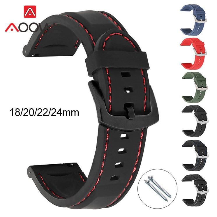 Ремешок силиконовый спортивный для мужчин, сменный водонепроницаемый браслет для Samsung Active2 Huawei Watch GT 2 46 мм Amazfit GTR, 18 мм 20 мм 22 мм 24 мм
