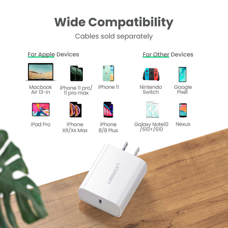 Ugreen PD Charger 30W Pengisian Cepat 4.0 3.0 QC USB Tipe C Cepat Charger untuk iPhone 11 X XS 8 MacBook Telepon QC4.0 QC3.0 PD Charger