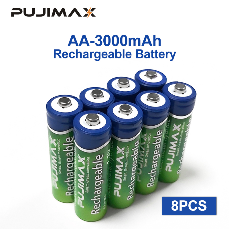 PUJIMAX Rechargeable <font><b>battery</b></font> 8PCS <font><b>AA</b></font> <font><b>Battery</b></font> <font><b>1.2V</b></font> 3000mAh pre-charged recharge <font><b>ni</b></font> <font><b>mh</b></font> rechargeable <font><b>battery</b></font> For camera microphone image