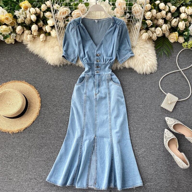 Retro Denim Dress V-neck Waist Slimming Maxi Long Split Dress Female Summer Dress 2020 New Style Jean Dresses