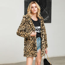Leopard Coats 2019 Women High quality Faux Fur coat Luxury Winter Warm plush jacket Fashion Cardigan Loose Hooded Pocket Coat #6(China)
