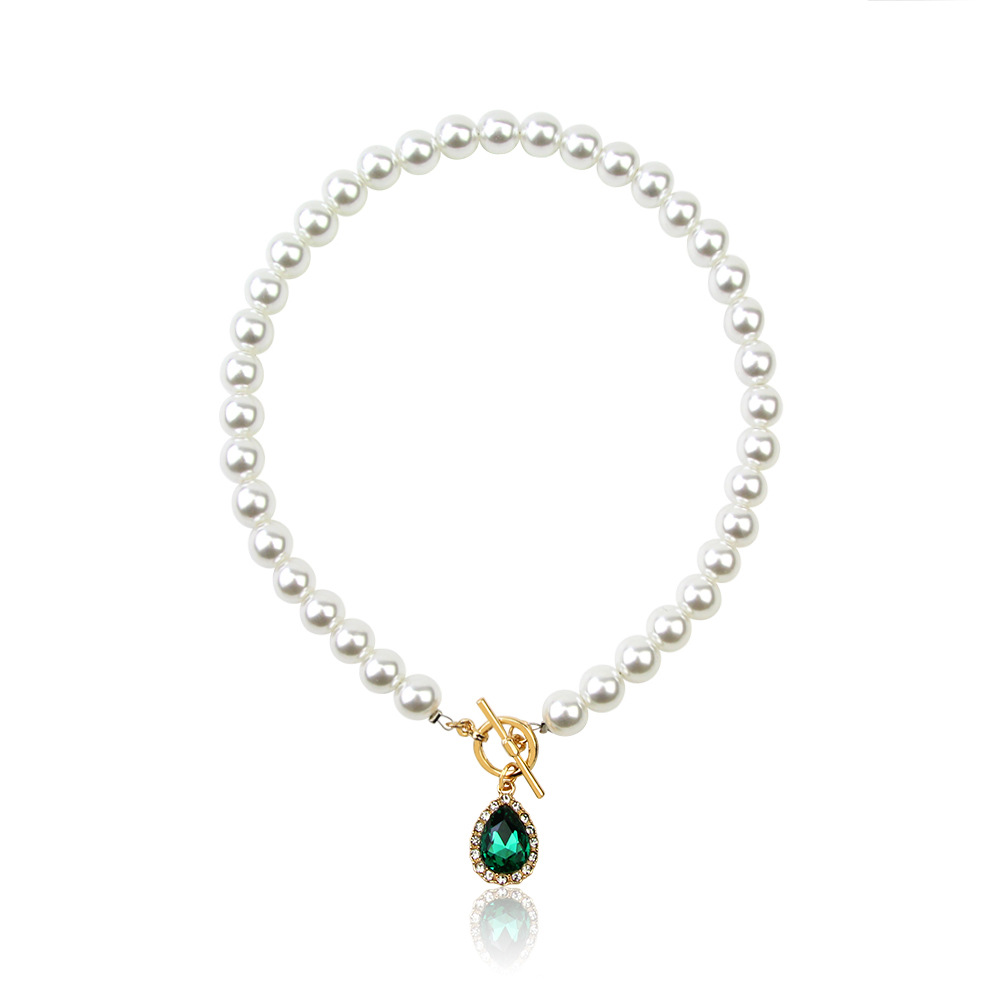 Vintage Green Stone Jewelry Punk Imitation Pearl Rhinestone Crystal Necklace For Women Jewelry
