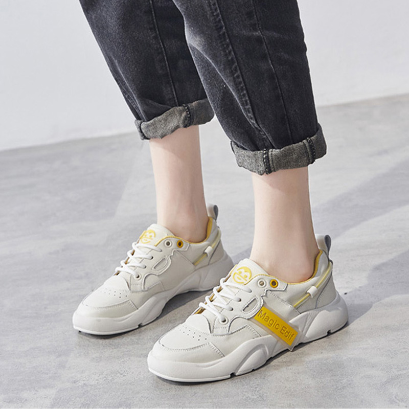 100% Genuine Leather Shoes Women Sneakers 2020 Spring Clunky Sneakers Casual Women Flats Cow Leather Female White Shoes A2137