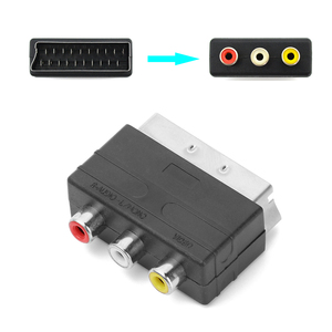 High quality Scart Male Plug to 3RCA Phono Female AV TV Audio Video Adapter Input for PS4 for WII DVD VCR