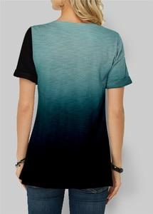 Женская летняя футболка с коротким рукавом и О-образным вырезом свободные топы в стиле кэжуал градиент Цвет футболки мода нерегулярные футболки для женщин размера плюс S-5XL