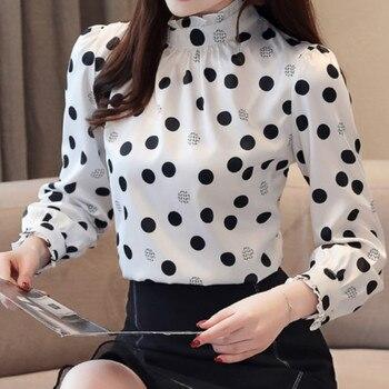 Plus size 2019 Autumn Fashion Women Chiffon Shirts Long Sleeve Polka Dot ruffless Women Blouses Casual Stand Collar Women Tops 1