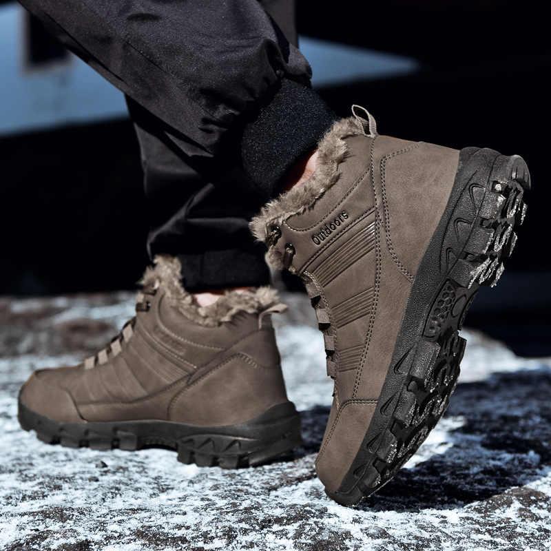 Kış kürk sıcak erkek botları erkekler için rahat deri ayakkabı yetişkin çalışma kaliteli yürüyüş kauçuk koruyucu ayakkabılar büyük boy