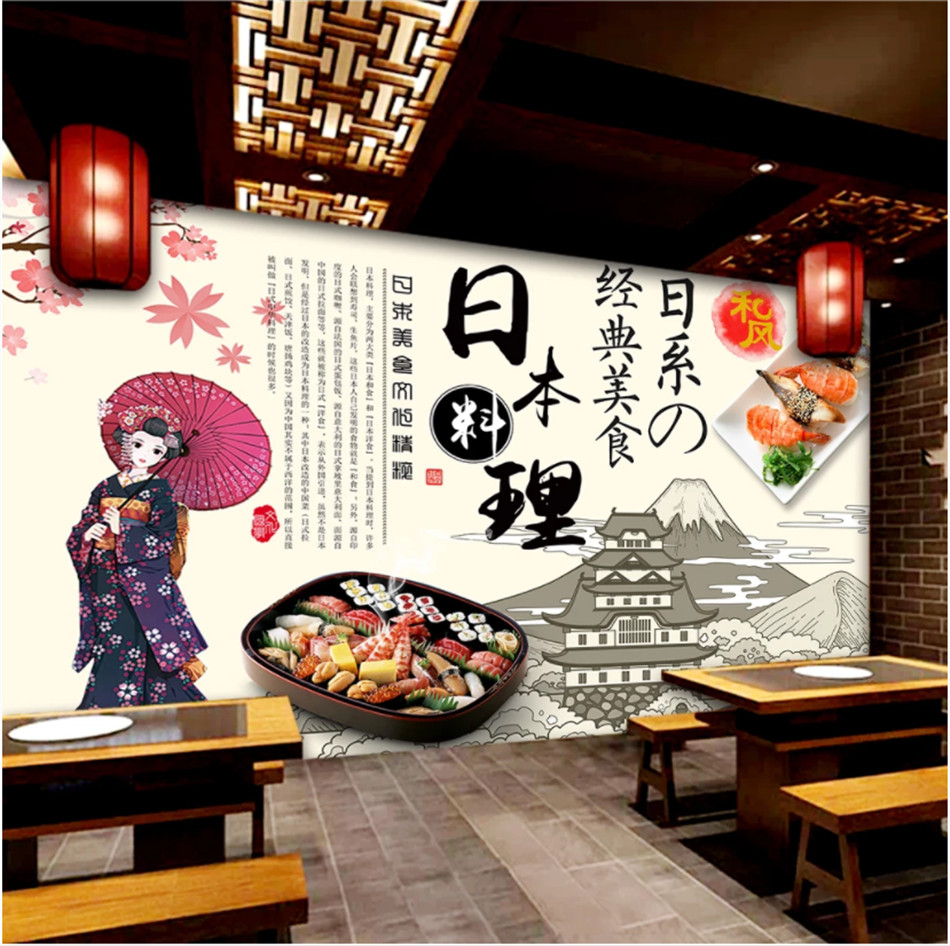 Hand Painted Cartoon Japanese Beauty Sushi Catering Theme Background Wallpaper Restaurant Industrial Decor Mural Wall Paper 3d
