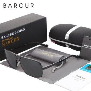 Image 2 - BARCUR alüminyum polarize erkek güneş gözlüğü ayna güneş gözlüğü kare gözlüğü gözlük aksesuarları erkekler veya kadınlar için kadın