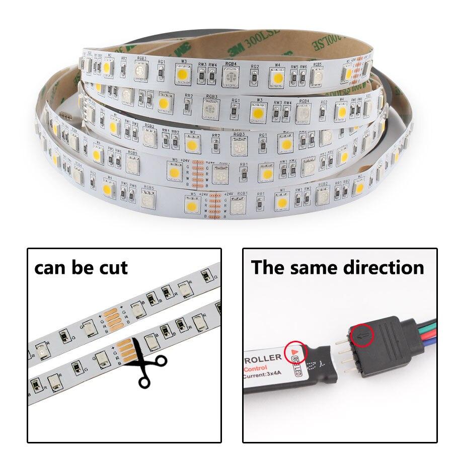 H608792119f9548849a27c7382bdcc062r LED Strip 5050 DC 24V RGB WarmWhite 24 v 5 meter waterproof flexible Light stripe 60LED/MLed Tape Luces lamp Ribbon tv backlight