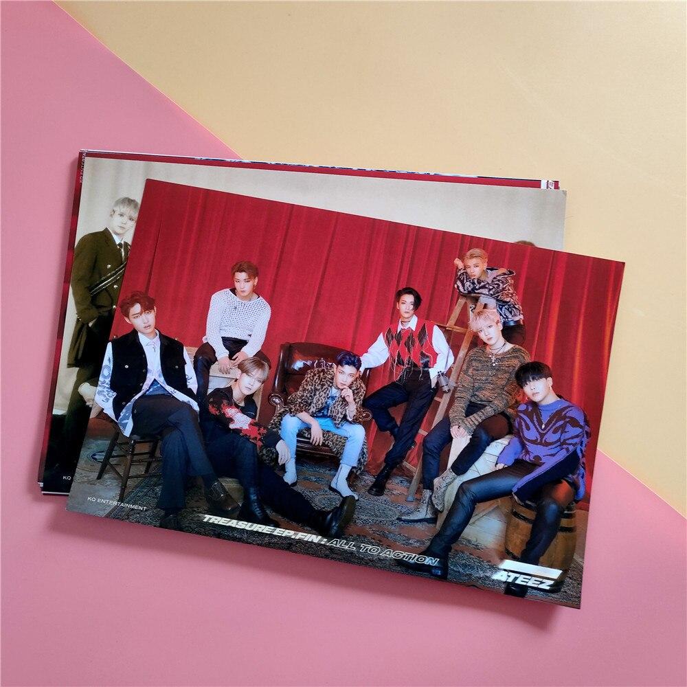 2pcs/set Kpop ATEEZ Poster Stickers 21*30cm Self-adhesive Photo Album WONDERLAND Hanging Painting K-pop Ateez Photo Poster