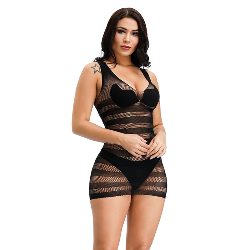 Erotic Lingerie Women Baby Dolls Elasticity Underwear Intimates Hot Female Fishnet Lingerie Costumes Slips Mini Dress