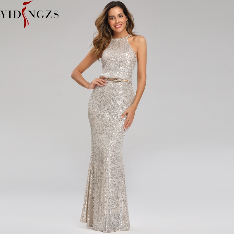 Off-shoulder Silver Sequins   Evening     Dress   YIDINGZS Sexy Long Formal Party   Dress   YD16351