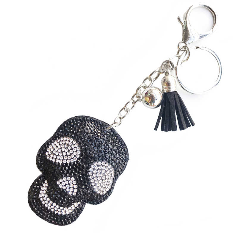 Leather Rhinestone Keychain Tassel Crystal Skeleton KeyChains Women Holder Bag Car Key Ring Fashion Pendant Punk Sliver Jewelry