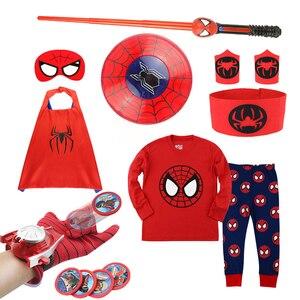 Máscaras da criança roupas anime pijamas de natal marvel meninos crianças pijamas definir festa de aniversário trajes cosplay roupas dos miúdos